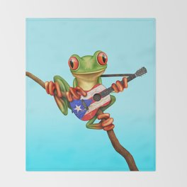 Tree Frog Playing Acoustic Guitar with Flag of Puerto Rico Throw Blanket