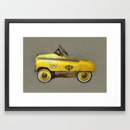Yellow Taxi Pedal Car Framed Art Print