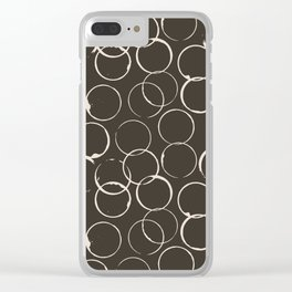 Circles Geometric Pattern Chocolate Brown Antique White Clear iPhone Case