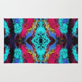 indian psychedelic graffiti drawing abstract in blue pink yellow Rug