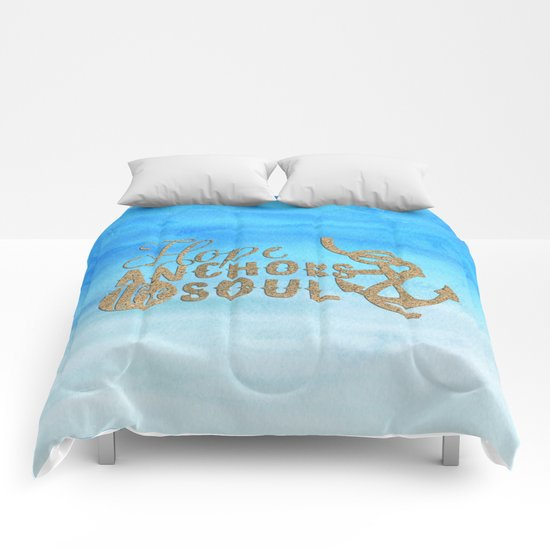 Hope anchors the soul - Typography maritime Comforters