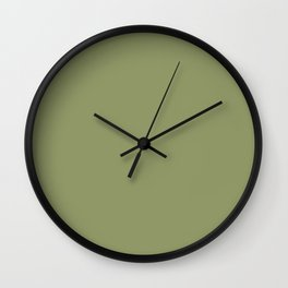 Olive Green Color Solid Wall Clock