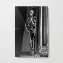 The Skeleton by the Printer Metal Print
