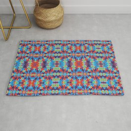 Cut Out Shapes And Tiny Flowers Rug