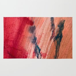 Blushing [2]: a vibrant, minimal abstract in pink, red, and blue details Rug