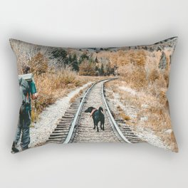 Autumn Tracks // Backpacking the Railroad Fall Tree Landscape with Black Dog Rectangular Pillow