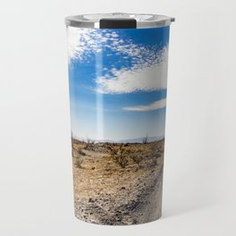Lonely Dirt Road Cutting through the Barren Desert in the Anza Borrego Desert State Park Travel Mug