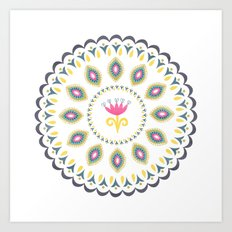 Suzani inspired floral blue 4 Art Print