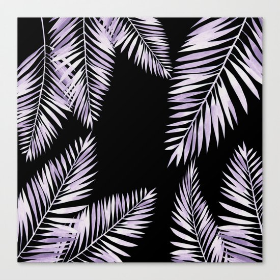 Watercolor tropical palm leaves purple Canvas Print