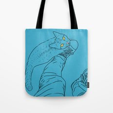 Everything I know I learned from my cat (blue) Tote Bag