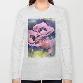 Watercolor Poppies Flowers Art Long Sleeve T-shirt