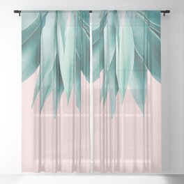 Agave fringe - blush Sheer Curtain