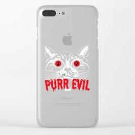 Purr Evil. Satanic Cat Halloween Clear iPhone Case