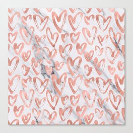 Hearts Rose Gold Marble Canvas Print