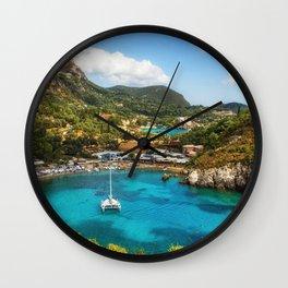 white yacht bay beach cliffs coast sea Paleokastritsa Corfu Greece Greek island Sredrizemnoe Sea Ionian Islands Wall Clock
