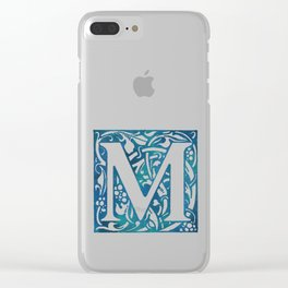 Letter M Antique Floral Letterpress Clear iPhone Case