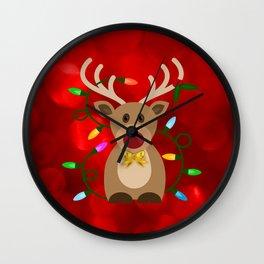 Christmas Reindeer in Lights Wall Clock