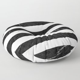 Marble Stripes Pattern 2 - Black and White Floor Pillow