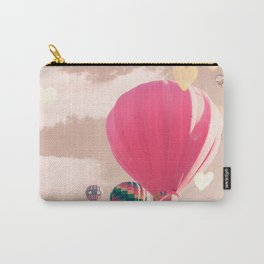 Hot air balloon and heart bokeh on pale pink Carry-All Pouch