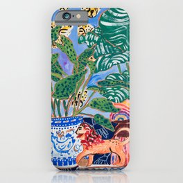 Cheetah and Lion House Plant Still Life Painting with Rainbow iPhone Case