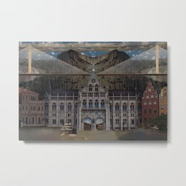 Flat Earth - Seoul, Panama, Budapest, Stockholm Metal Print