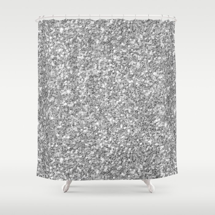 Silver Gray Glitter Shower Curtain
