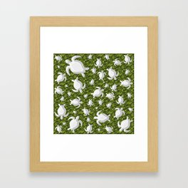 Grey turtle shapes with green nature background Framed Art Print