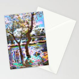 Trees Pond and Light Streams Stationery Cards