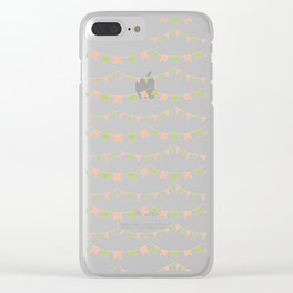 Summer Party Banner Flags Illustrated Print in Peach and Green Clear iPhone Case