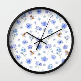Elegant lavender brown watercolor honey bee floral Wall Clock