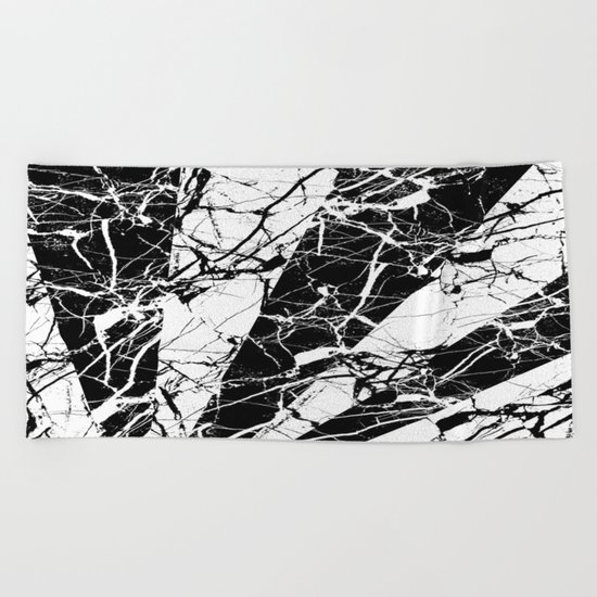 Rays Of Marble - Black and White, marble textured, abstract art Beach Towel