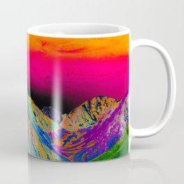 California's Sierra Mts-Digital Art, Green & Purple Coffee Mug