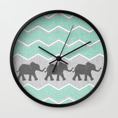 Three Elephants - Teal and White Chevron on Grey Wall Clock