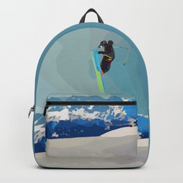 Man on skis, sky jumping, with mountains and blue sky on the backgound Backpack
