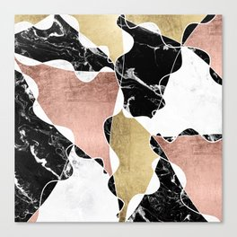 Modern white black marble rose gold foil color block handdrawn geometric lines Canvas Print