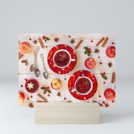 Photos New year Apples Cinnamon Cup Food Spoon Sau Mini Art Print