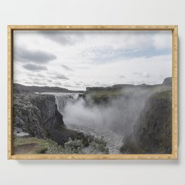 Dettifoss waterfall in Iceland - nature landscape Serving Tray