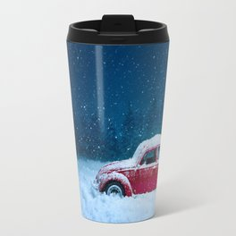 Winter Storm Red Car Travel Mug
