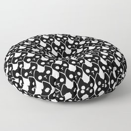 Spooky demon cat head heart pattern black and white Floor Pillow