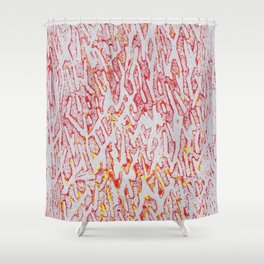 Brushed Red, Yellow, Silver Painting Shower Curtain