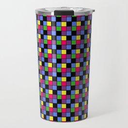 Disco Lights Blocks, Checkered Pattern - Pastel Colors Travel Mug