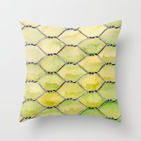 the wire Throw Pillows featuring Chicken Wire by Dawn Patel Art