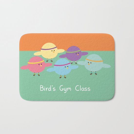 Birds Gym Class Bath Mat