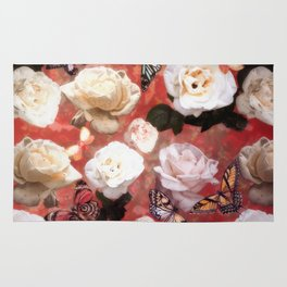 White Roses and Butterflies (Red) Rug