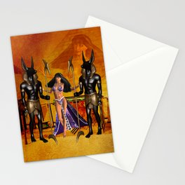 Egyptian women with anubis Stationery Cards