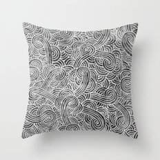 Grey and white swirls doodles Throw Pillow