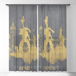 Krakow skyline gold black #cracow Sheer Curtain