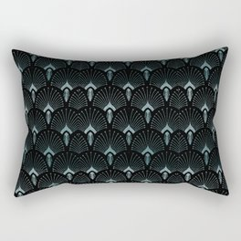Teal Art Deco,art nouveau pattern, art deco black teal pattern, chic,elegant,great Gatsby,belle epoq Rectangular Pillow