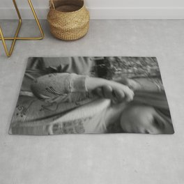 Daughter Holding her Mother's Hand Rug