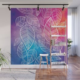 Feather Leaves: Brights Wall Mural